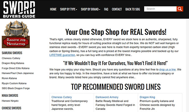 SBG Sword Store Customer Feedback