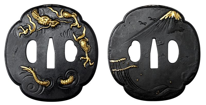 Ryujin Tsuba with Gold Inlay