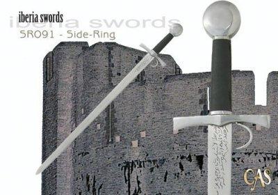 The Side Ring Sword. Notice the ring on the guard and the arabic inscriptions on the blade.